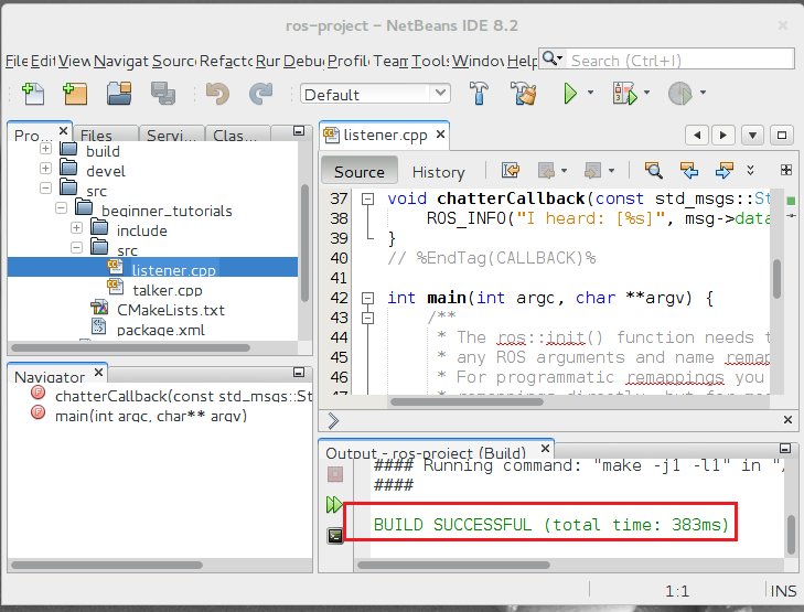 Using NetBeans IDE to Develop ROS packages