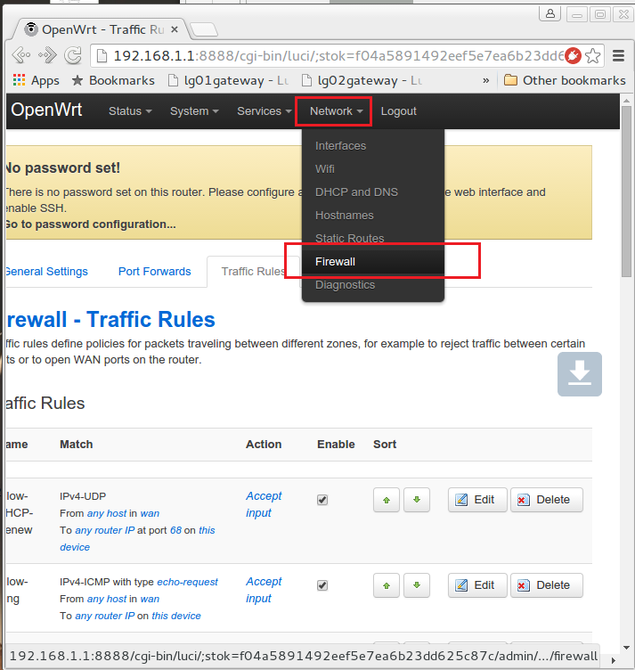 Webbox System Configuration - Firewall